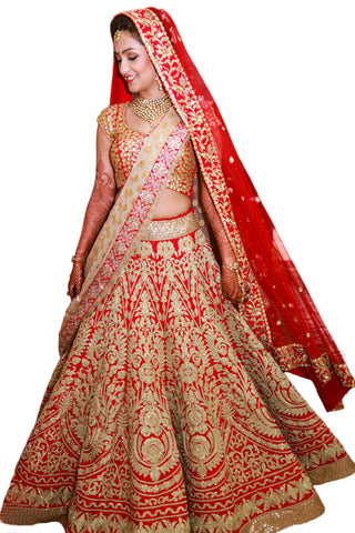 New Heavy Embroidered Red Bollywood Wedding Lehengas ,Indian Dresses - 1