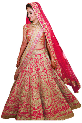 Gorgeous Pink Heavy Embroidered Indian Wedding Lehenga ,Indian Dresses - 1