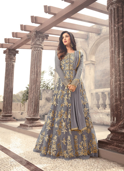 Gray Net Long Anarakali Indian Party Wear Salwar Kameez