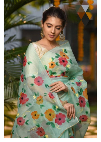 Light Green Floral Digital Printed Latest Organza Saree and Blouse Set