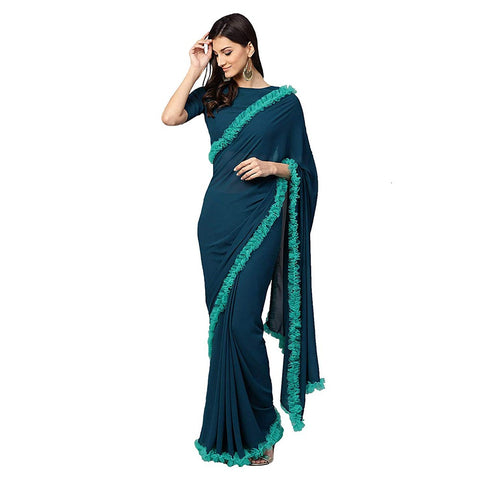 Dark Blue Georgette Indian Party Wear Ruffle Net Saree Online
