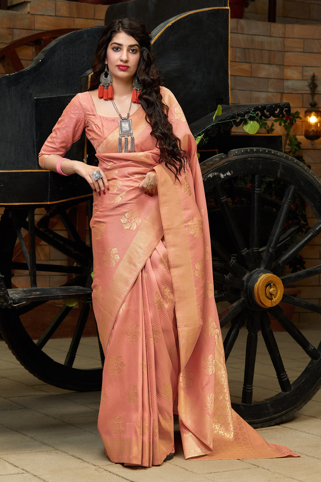 Peach Banarasi Cotton Silk Indian Best Saree Collection