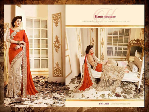 Orange Beige Chiffon & Net Bollywood Clothes Online ,Indian Dresses - 2