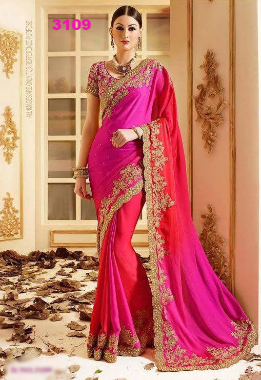 Stunning Magenta Party Saree ,Indian Dresses - 1