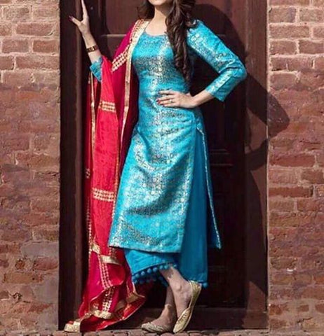 Elegant Blue Shalwar Kameez Online Plus size available kids and adult combo