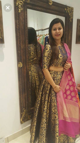 Black Brocade Designer Indian Lehenga Choli Shopping Online Buy