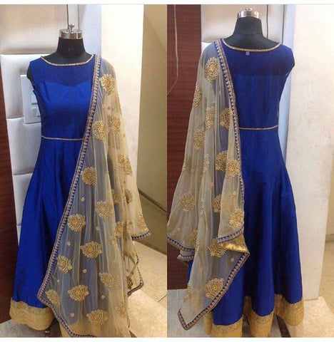 Blue Silk Anarkali Suits Gown Style Design Of Salwar Kameez