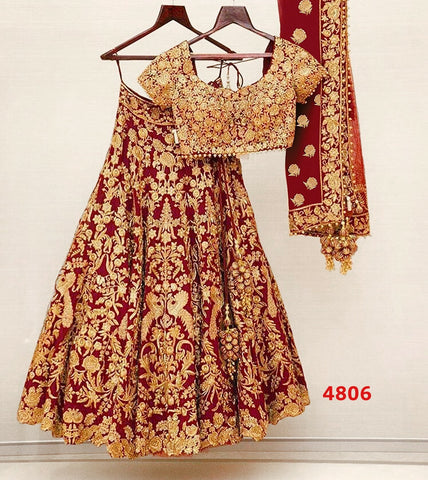 Latest Red Embroidered Banglori Satin Silk Lehenga Indian Wedding Dresses