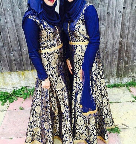 Image result for BLUE HEAVY BROCADE GOWN