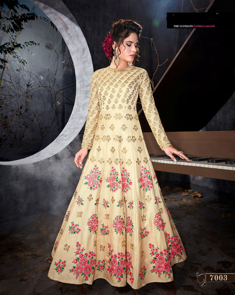 Beige Silk Embroidery Long Anarkali Salwar Kameez Dress Designs