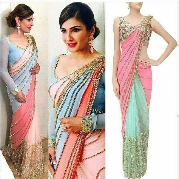 Raveena Tandon Georgette Net Bollywood Fashion Saree Replicas