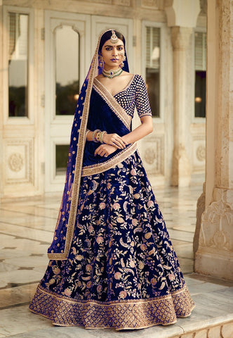 Dark Blue Velvet  Wedding Lehengas Designer Party Wear Online