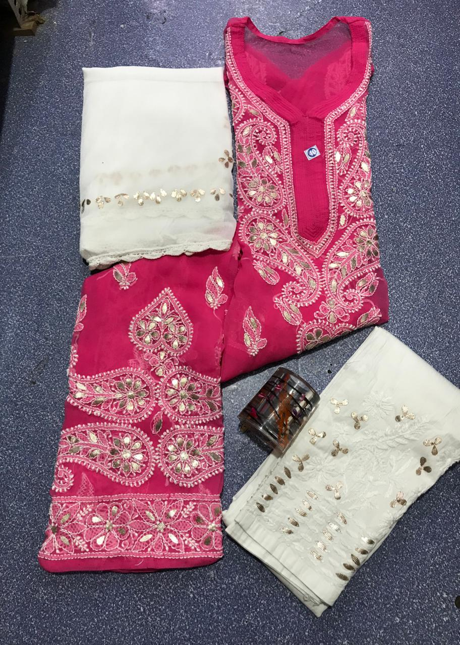 Dark Pink Chikankari Kurti 3 pc set Georgette Gota patti Combo