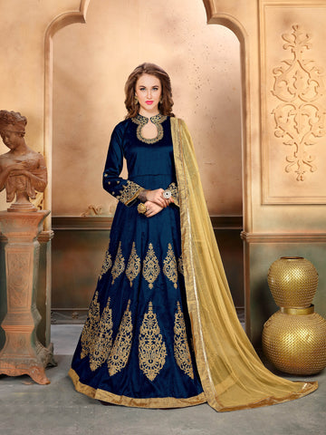Navy Blue Silk Embroidered Anarkali Dress Shop Online