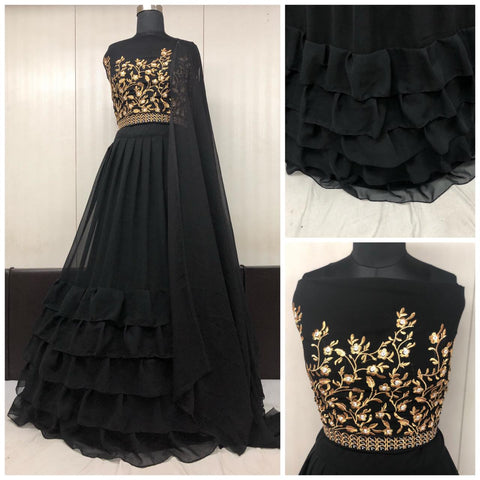 Black Georgette Ruffle Party Wear Lehenga Choli Online Buy