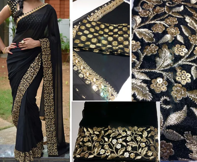 Gold Embroidered Black Georgette Bollywood Saree ,Indian Dresses - 3