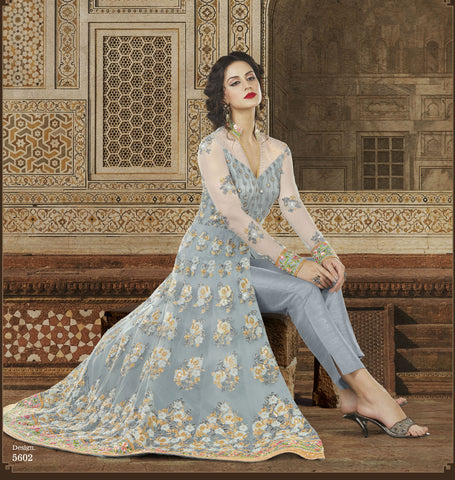 Gray Net Anakali Salwar Suits Party Wear Dresses Online