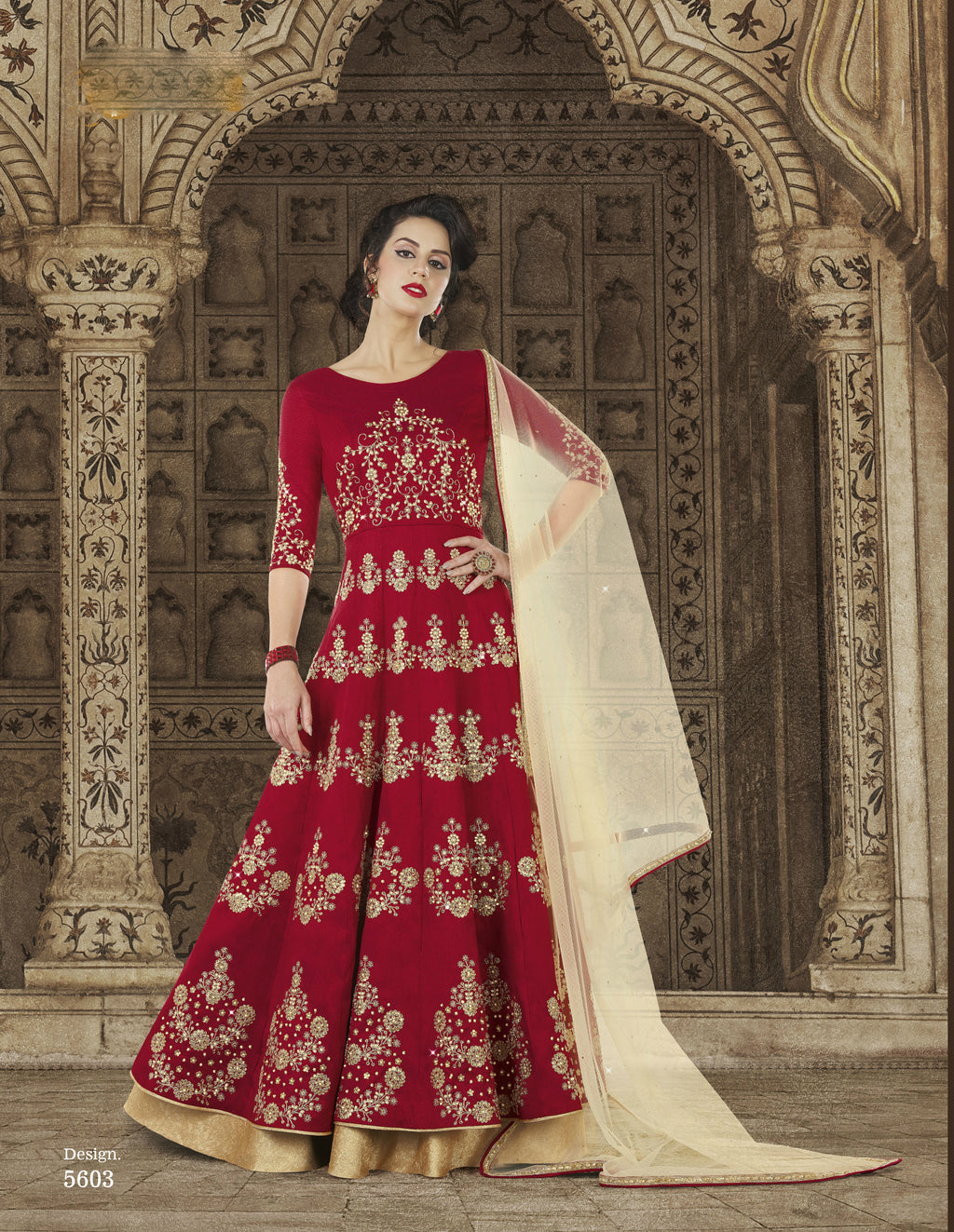 Red Embroidery Floor Length Anarkali Latest Salwar Kameez Online
