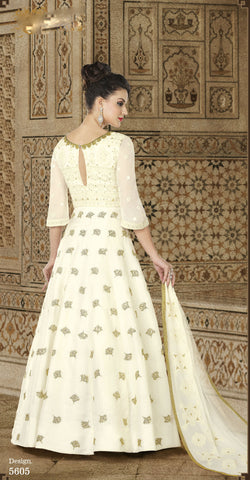 Off White Georgette Anarkali Latest Indian Dresses For Women