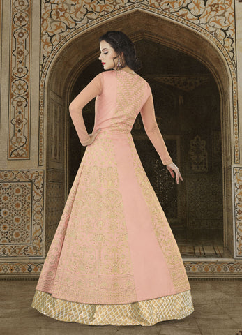 Peach Taffeta Silk Long Choli Marriage Lehenga Choli
