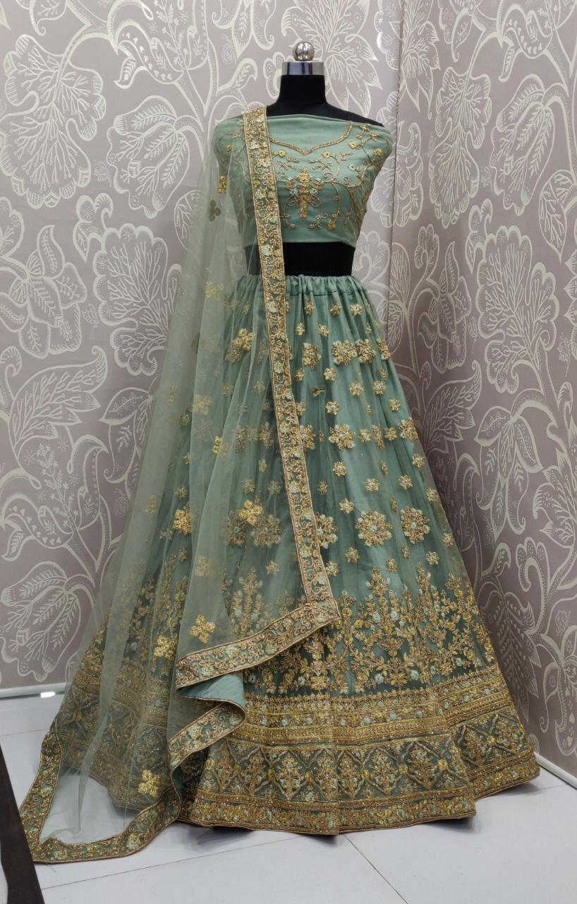 Greyish Green Net Embroidered Party Wear Lehengas For Women