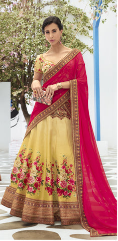 Mustard Digital Floral Printed Best Lehenga Choli Designs Online Shop