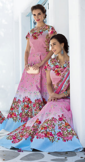 Pink Digital Floral Printed Beautiful Wedding Lehengas India Online