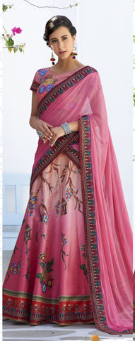 Pink Ombre Digital Printed Latest Party Wear Lehenga Designs