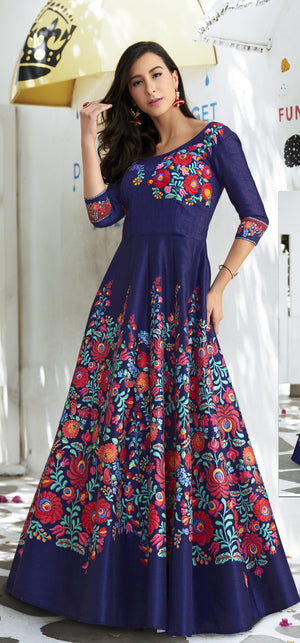 Navy Blue Digital Printed Beautiful Lehnga Design For Marriage