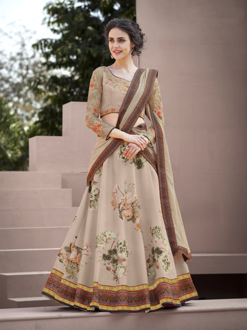 Lovely Beige Floral Print Silk Embroidery Party Lehenga Choli Online