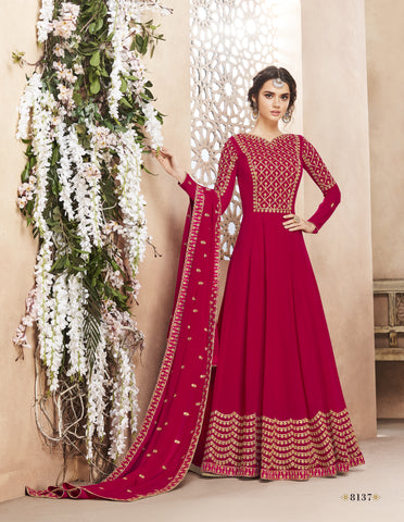 Pink Georgette Abaya Party Wear Anarkali Frock Online Shopping