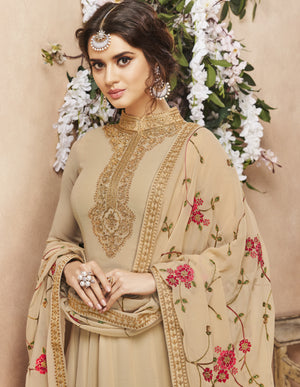 Beige Party Wear Abaya Style Salwar Latest Fashion Suits