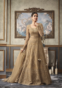 Beige Net Party Wear Anarkali New Salwar Suit Design Shop Online