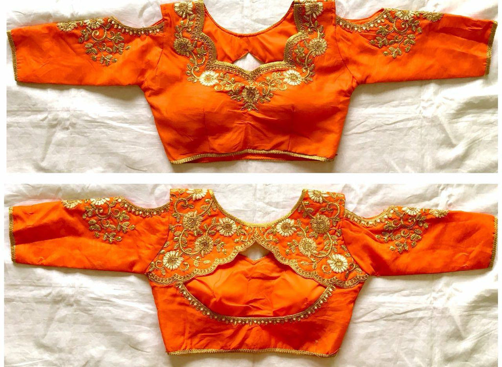 Buy Saree Blouse Online Orange Zari Embroidered Banglori