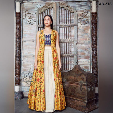 Beige Georgette Latest Fashion Indo Western Style Lehenga Online