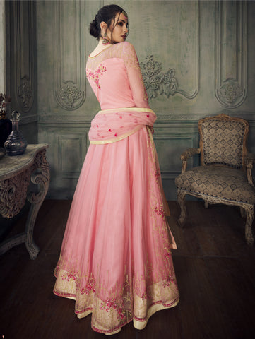 Pink Net Long Anarkali Indian Designer Salwar Kameez Suits