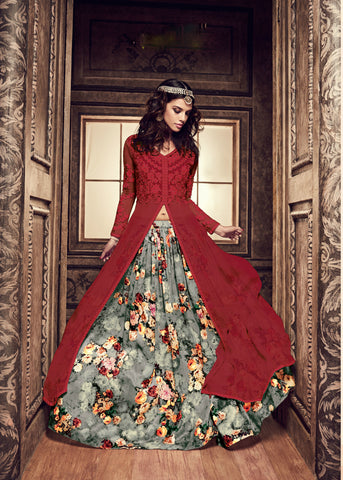 Red Silk Floor Length Stylish Online Salwar Suits For Ladies