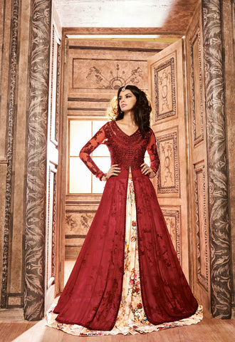 Dark Red Silk Floor Length Suits Indian Designer Party Dresses