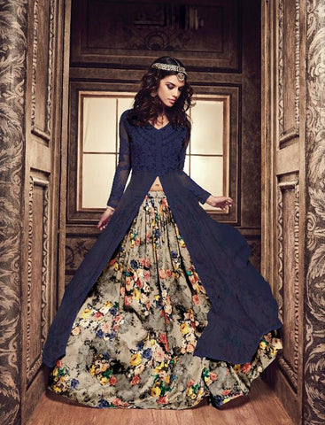 Navy Blue Long Choli Indian Dresses Party Wear Lehenga Online