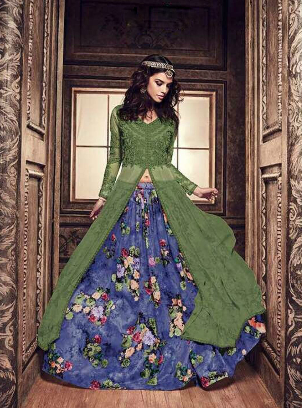 Green Silk Suits Long Choli Lehenga Designs With Price