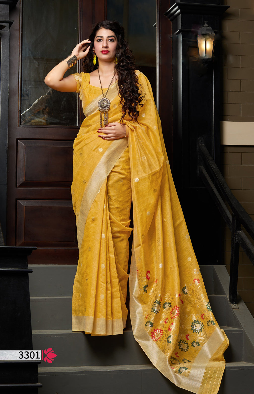 Mustard Banarasi Cotton Silk Indian Saree Online