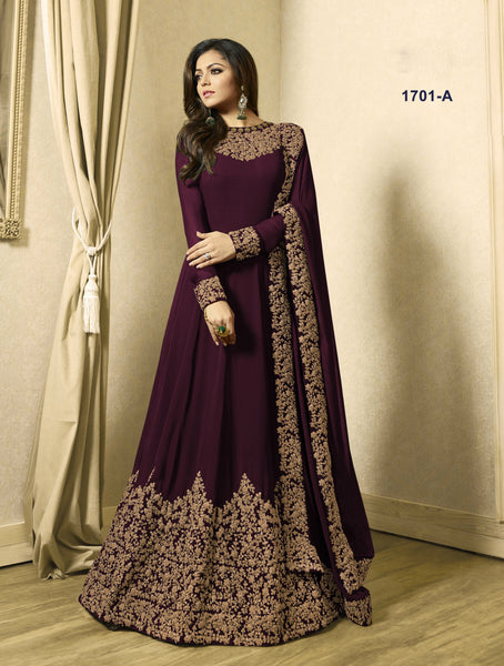 Drashti Dhami Beautiful Wine Color Georgette Latest Kameez Design