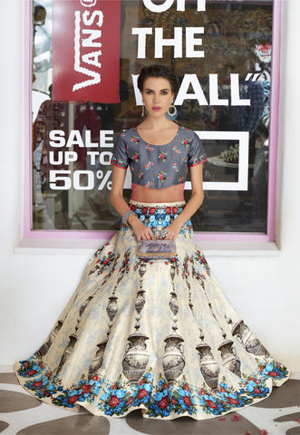 Cream Digital Printed Latest Design Of Lehenga For Wedding