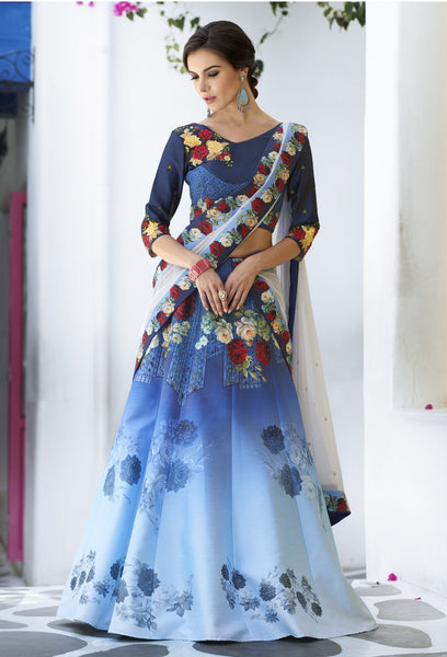 Blue Ombre Digital Floral Print Party Wear Indian Choli Outfits