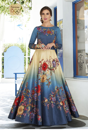Shaded Beige and Teal Blue Digital Floral Printed Choli Designs 2019