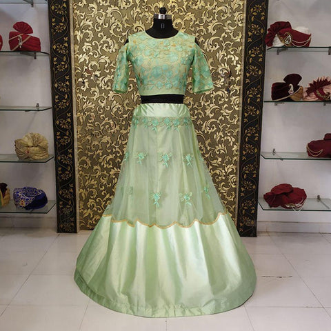 Light Pista Net Satin Latest Designs Party Wear Lehenga Choli Online