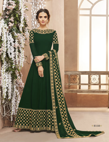 Green Georgette Party Wear Latest Designs Of Anarkali Suits