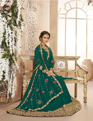 Teal Green Georgette Party Wear New Style Anarkali Dress Online