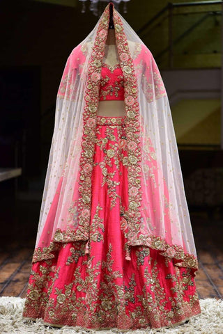 Salmon Pink Taffeta Silk Embroidered Latest Party Wear Lengha Choli Online