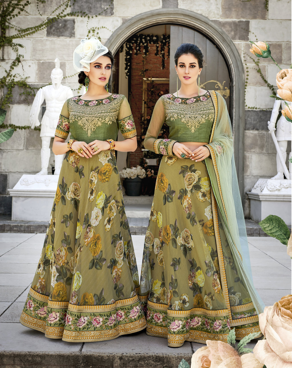 Olive Green Floral Print Organza Silk Latest Party Lehenga Choli Designs
